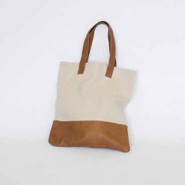 Newrybar Merchant Gift Registry: MJG Store Leather Cotton Canvas Tote $89.  See the full collection at www.mjgstore.com