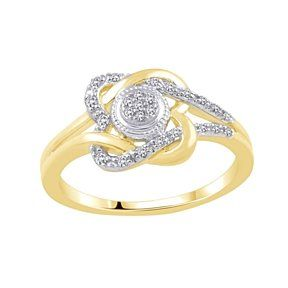 1/10 Ct White Natural Diamond Double Loop Heart Promise Ring 10K Yellow Gold # With Free Stud Earring by JewelryHub on Opensky