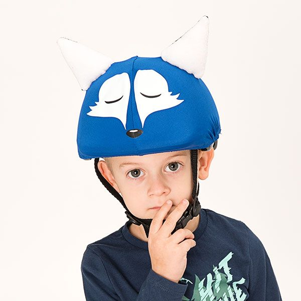 Blue sleepy fox helmet cover (junior size) - Evercover Ltd. (funny helmet covers webshop)
