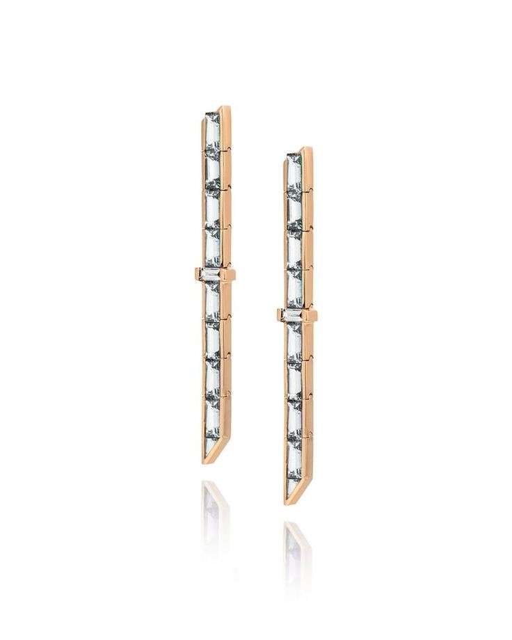 Tomasz Donocik drop diamond earrings in rose gold, from the new Electric Night collection.