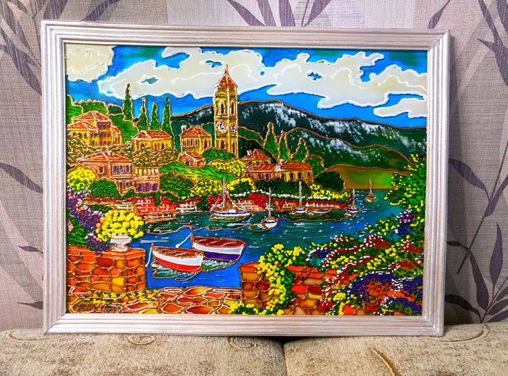 City painting glass art glass painting FREE by ArtmiraclesShop