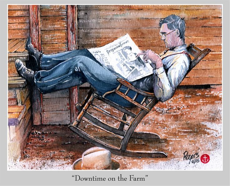 Downtime on the Farm. (Artist:  Kevin Rogers)