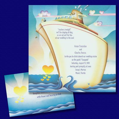 wedding cruise destination wedding invitations all aboard this large and colorful non folding panel wedding
