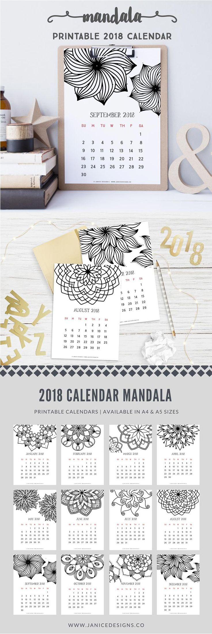 2018 Printable Calendar: Mandala