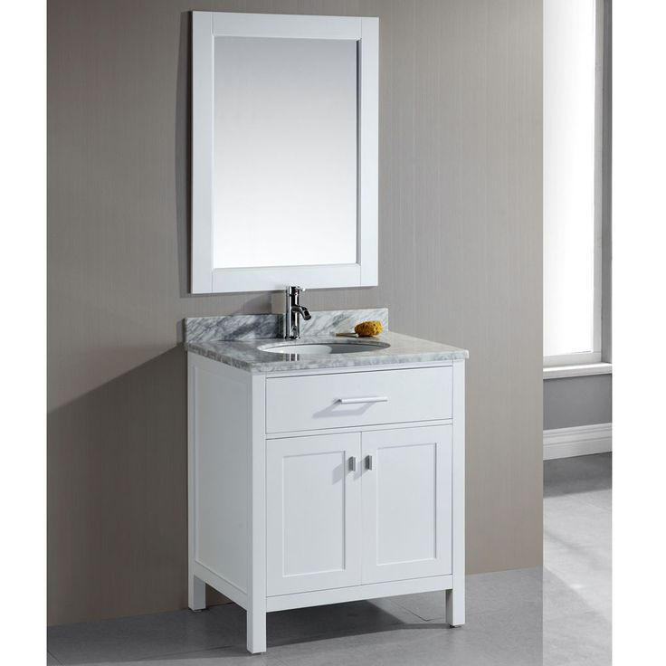 $720 London 30 Inch Single Sink White Bathroom Vanity Set #DesignElement
