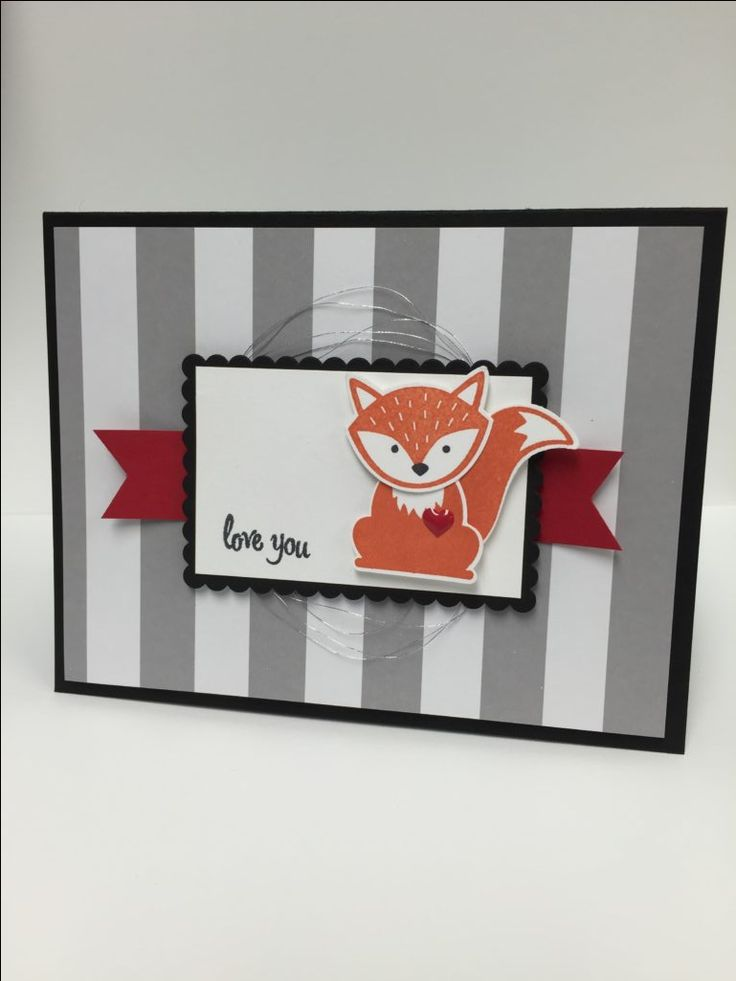 A simple card made using the Foxy Friend stamp set, Thoughtful Banners stamp set, and Layering Squares Framelits.