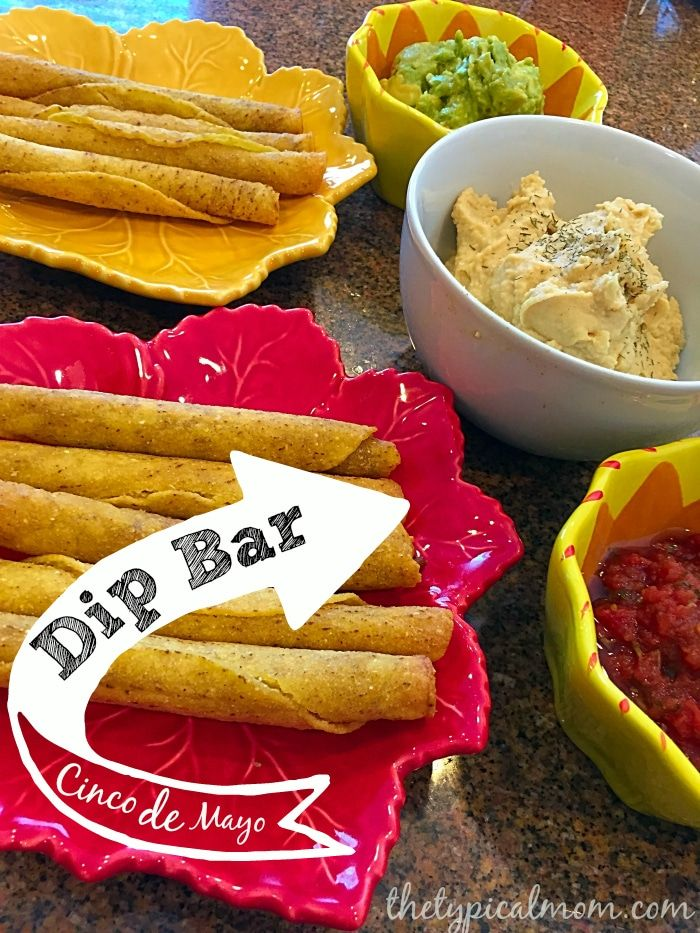 Create a Cinco de Mayo dip bar with salsa, guacamole, and homemade hummus that is easy to prepare. Here is a recipe for easy jalapeno or regular hummus!