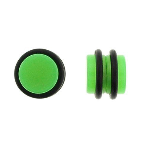 No Piercing Required - High Quality Green Acrylic Fake Plugs - Imitation 0G with Rubber Bands - Very Strong Magnets - Sold as a Pair WickedBodyJewelz - Non Piercing. $7.95. No Piercing Required. Green. Very Strong Magnets. 0G. Fake Plugs