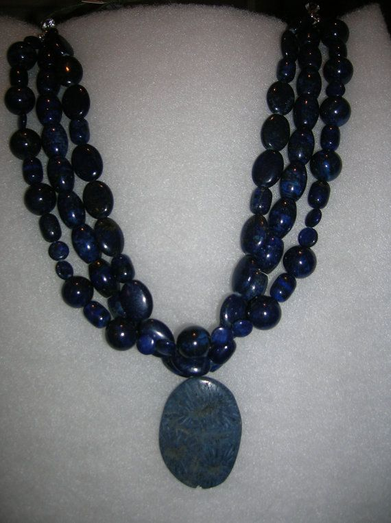 Blue Lapis Triple Strand Necklace with Blue Fossel Drop on Etsy, $160.00