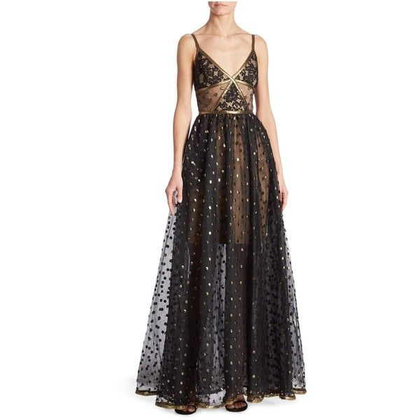 Elie Saab Polka Dot Lace Gown ($6,975) ❤ liked on Polyvore featuring dresses, gowns, gown, black, metallic evening dress, metallic evening gowns, polka dot dresses, metallic gown and zip back dress