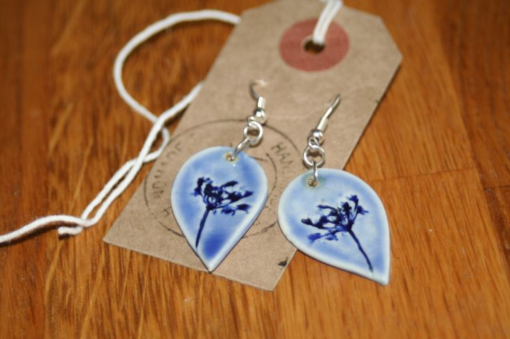 porcelain and silver plated drop earrings by Lynne Dinmore. £15