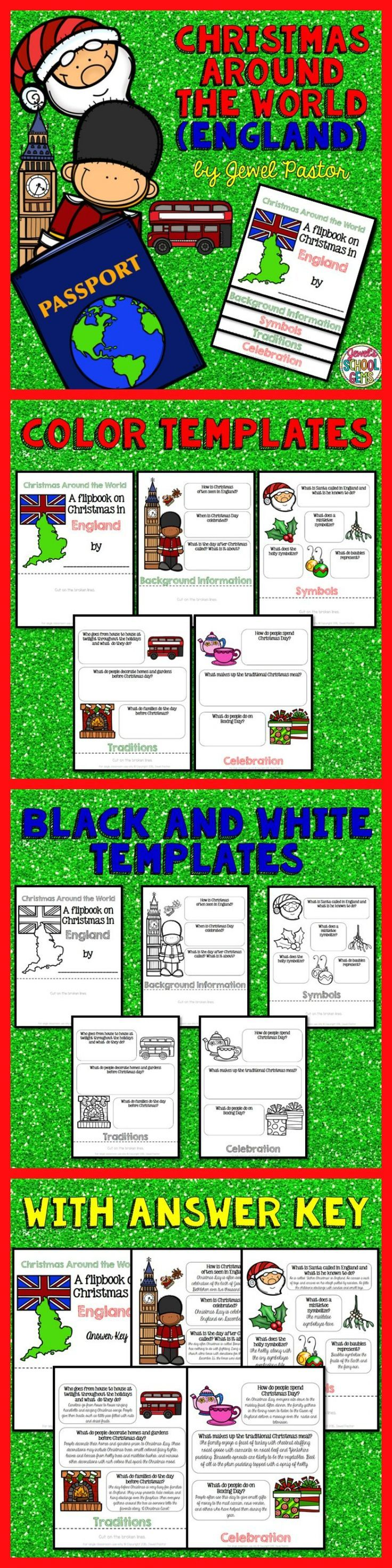 """CHRISTMAS AROUND THE WORLD (ENGLAND)  Engage your students with this Christmas Around the World Activity: """"A Research Flipbook on Christmas in England"""".  This resource contains: *5 pages of color templates *5 pages of black and white templates *5 pages with answers to the questions (Answer Key)  Children will learn about England's Christmas traditions and celebrations in a fun and interactive way with this flipbook research project!  Please see Preview to see the color templates."""