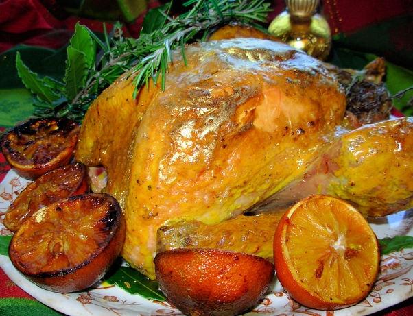 A Historical Roast Turkey Recipe: Gilded Saffron & Butter Basted Turkey with Herb Garland