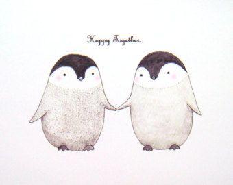 Cute Penguin Love Illustration Print Grey Black White Home Wall Decor Modern Minimalist Simple Bridal Shower Wedding Anniversary 4x6 5x7