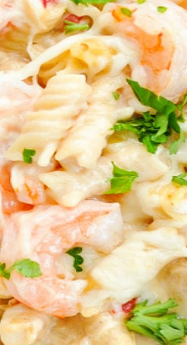 Dump-and-Bake Creamy Shrimp Pasta