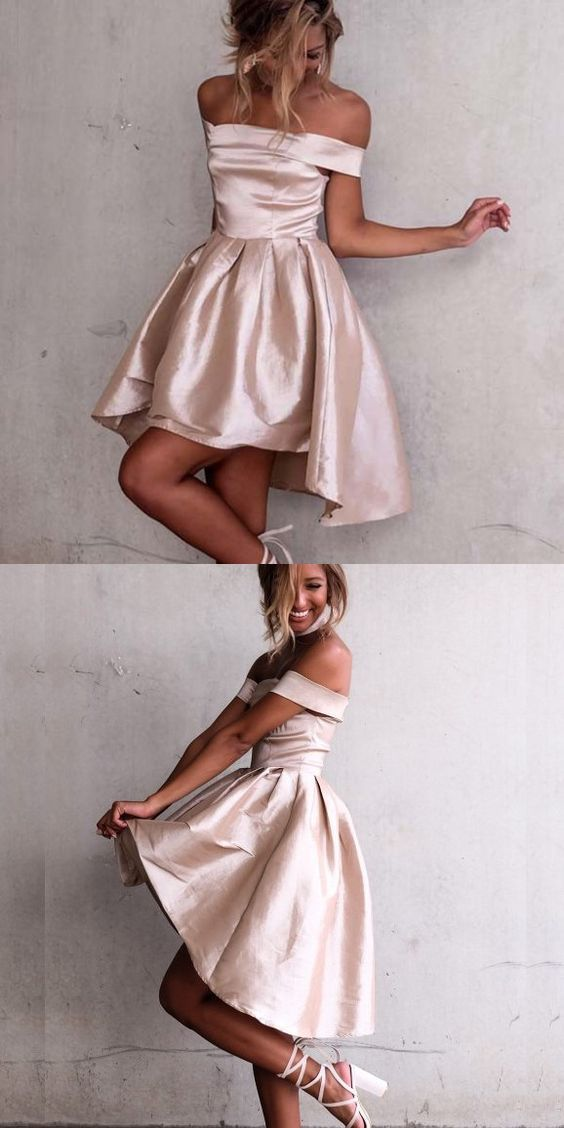 Cute Off-the-Shoulder Hi-Lo Party Dress, Fashion Champagne Prom  Dress, Elegant Homecoming Dress with Pleats