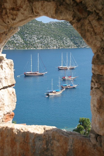 ༺✿ Kaş, Turkey........one of the many stops we made while sailing along the Blue Voyage. Wonderful memories!