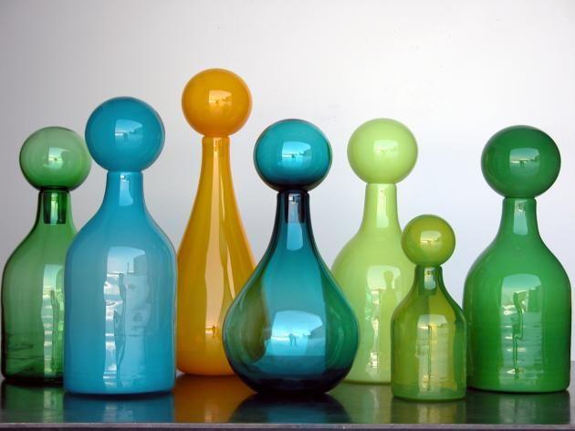 Handblown decanters in vibrant colours