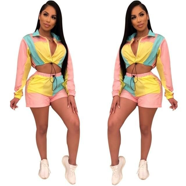 Women Hooded Long Sleeve Shiny Crop Tops Bodycon Short Pants Casual Jumpsuit 2pc