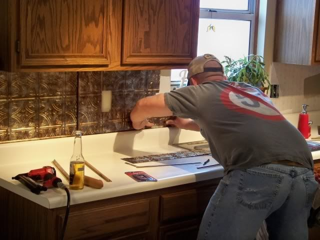 how to install pressed tin backsplash in kitchen