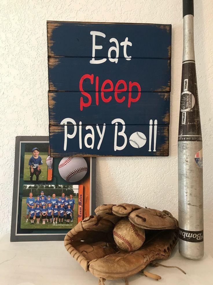 Eat Sleep Play Ball  hand-painted, wood sign,boy sign,boys room,baseball sign,play ball sign,home decor,wall art, sign for boys by WildflowerLoft on Etsy https://www.etsy.com/listing/234997168/eat-sleep-play-ball-hand-painted-wood