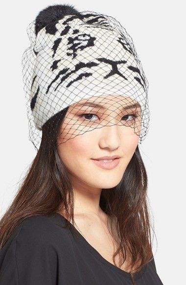By BCBGMAXAZRIA 'Knit Tiger' Veiled Beanie