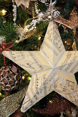 Just Cover an Already Made Star Ornament Glue with Mod Podge Music Sheet Paper n Add Glitter and Tiny Bells =)