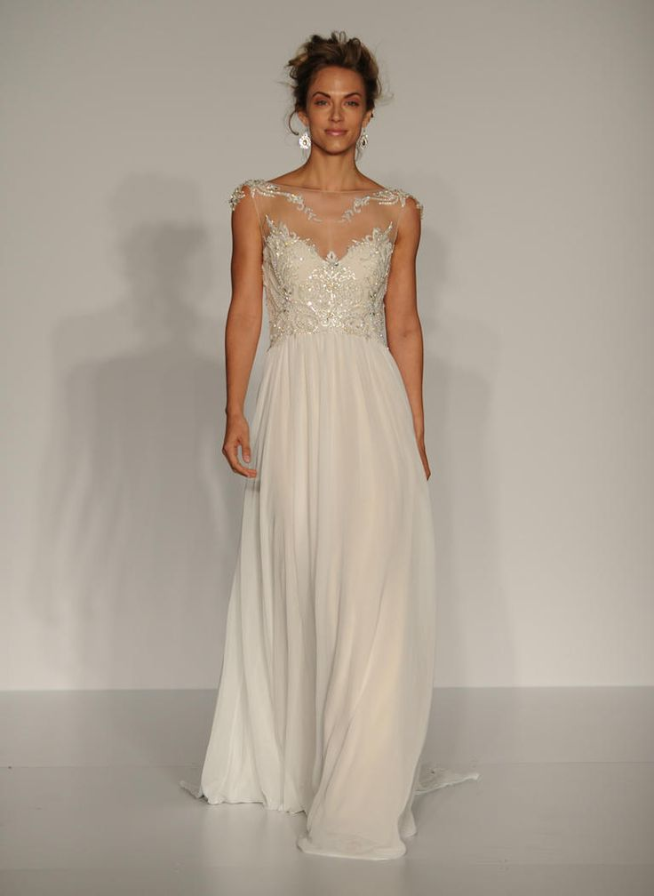 Maggie Sottero Fall 2016 sleeveless gown with illusion neckline, crystal embroidery and chiffon skirt   https://www.theknot.com/content/maggie-sottero-wedding-dresses-bridal-fashion-week-fall-2016