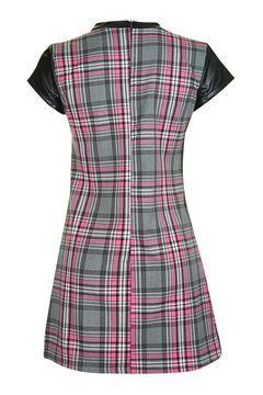 **PU Sleeve Check Tunic Dress by Wal G