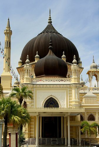 Zahir Mosque, Alor Setar, Malaysia. Built in 1912, funded by Tunku Mahmud, son of the Sultan Tajuddin Mukarram Shah, the mosque was founded with five large domes symbolizing the five main principles of Islam. This mosque has been voted the top 10 most beautiful mosques in the world.