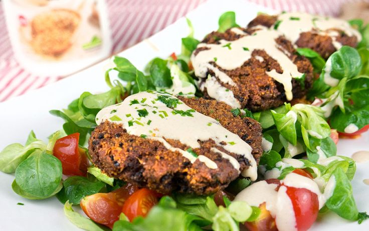 <p>If you are looking for an elegant appetizer or a light supper, these fishcake canapés are the perfect dish. The faux-fish cakes are dressed up with a delightful homemade tahini and served on a bed of greens.</p>