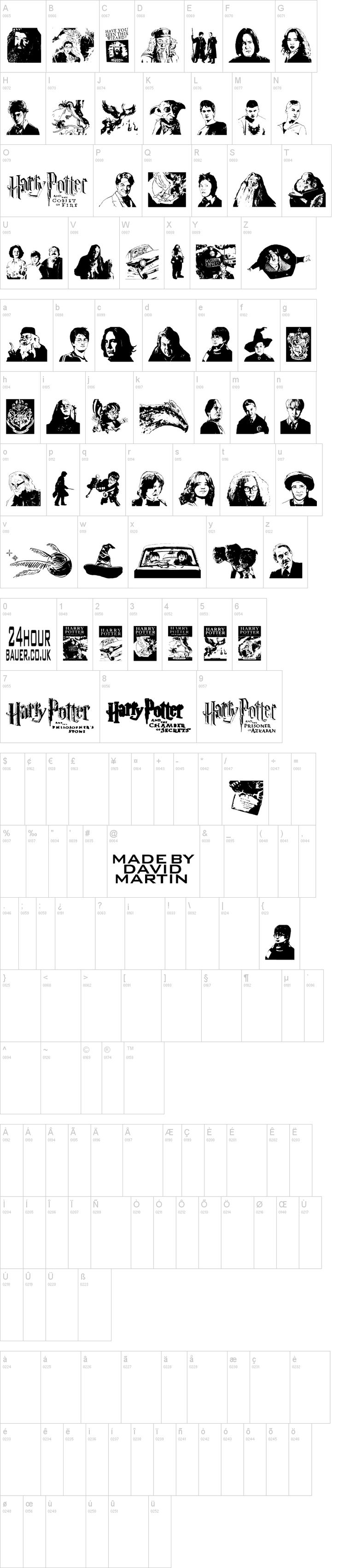a Harry Potter dingbat font! PLUS this site also has other Harry Potter fonts! My essays just got a lot more exciting!