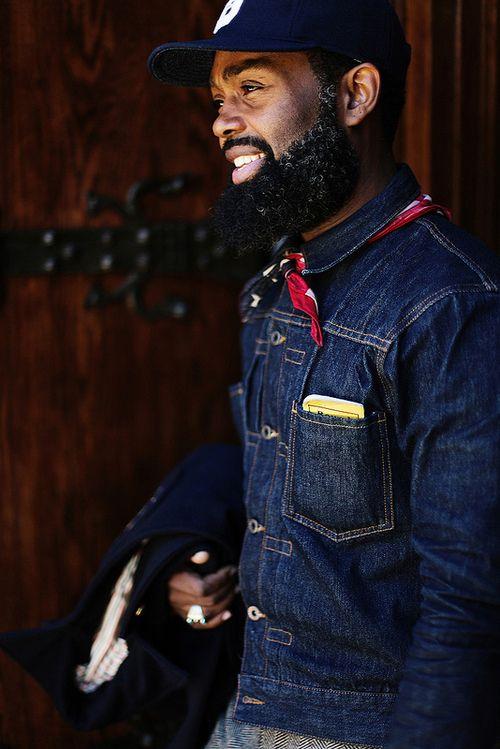 pleated denim jacket, Ouigi Theodore, Brooklyn Circus.