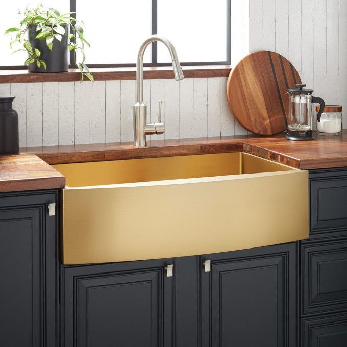 30 Atlas Stainless Steel Farmhouse Sink Curved Apron Matte Gold Apron Atlas Cu In 2020 Stainless Steel Farmhouse Sink Kitchen Design Stainless Farmhouse Sink
