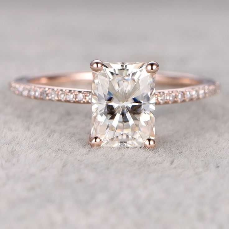 6x8mm Radiant Cut 1.8ctw Moissanite and Diamond Engagement Ring 14k Rose Gold Stacking Ring
