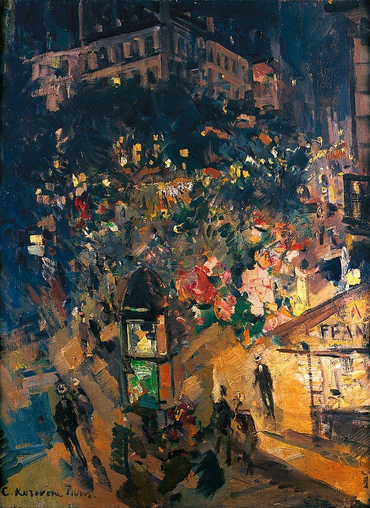 Paris, ca 1926, Konstantin Korovin (1861 - 1932) was a leading Russian Impressionist painter. One of the artist's favourite themes was Paris. He painted A Paris Cafe (1890s), Cafe de la Paix (1905), La Place de la Bastille (1906), Paris at Night, Le Boulevard Italien (1908), Night Carnival (1901), Paris in the Evening (1907) and others.