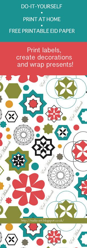 This Eid design is perfect for creating your own decorations, wrapping presents, adding to your own card designs, creating labels and much more. Free to download from http://nadia-art.blogspot.co.uk/2016/08/free-printable-eid-mubarak-paper.html