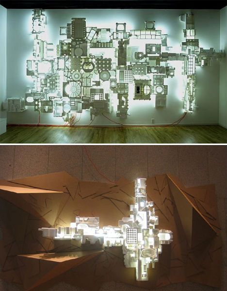 illuminated styrofoam art - jason rogenes/ this site has a ton of art pieces made out of styrofoam.