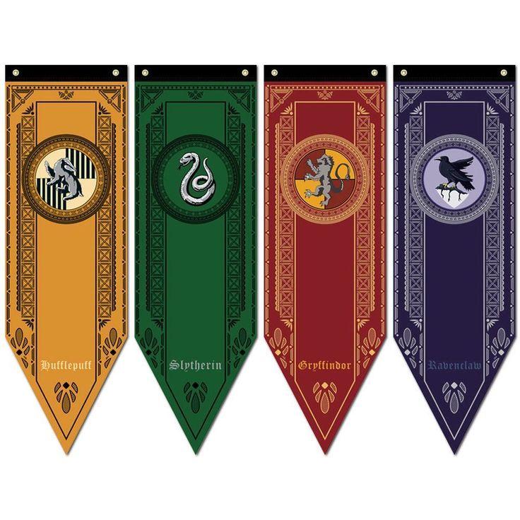 Details about 1pc Harry Potter Gryffindor Slytherin Ravenclaw Hogwarts House Flag Banner Drape