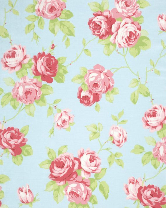 TANYA WHELAN Lulu Roses Collection 1 Yard LuLu In Sky SHABBY Chic Fabric