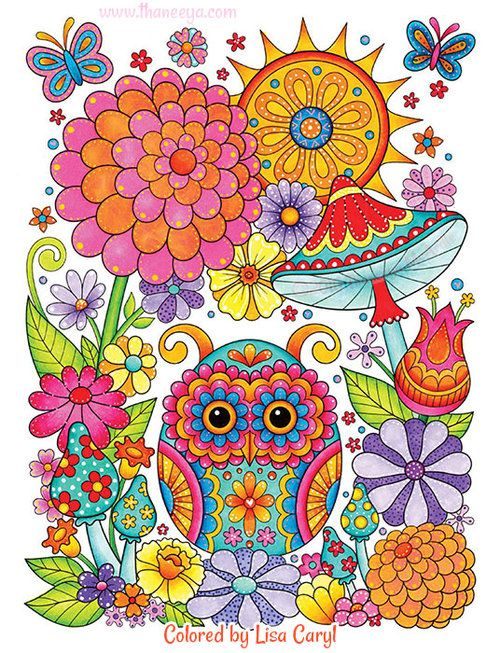 Owl Garden Coloring Page From Thaneeya Mcardle S Groovy Owls Coloring Book Owls Drawing Whimsical Art Coloring Book Art