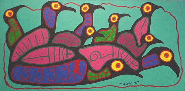 norval morrisseau born in 1930s in Canada. He died in 2007. He combined Modern art with Aboriginal imagery.