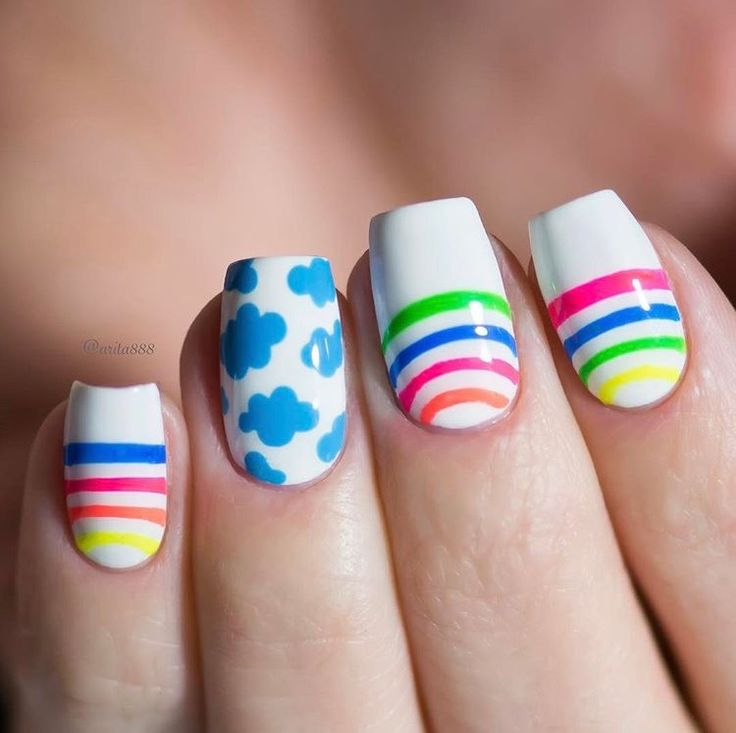 Spring rainbow manicure by the fabulous @arita888 using our new Rainbow Nail Stencils found at snailvinyls.com