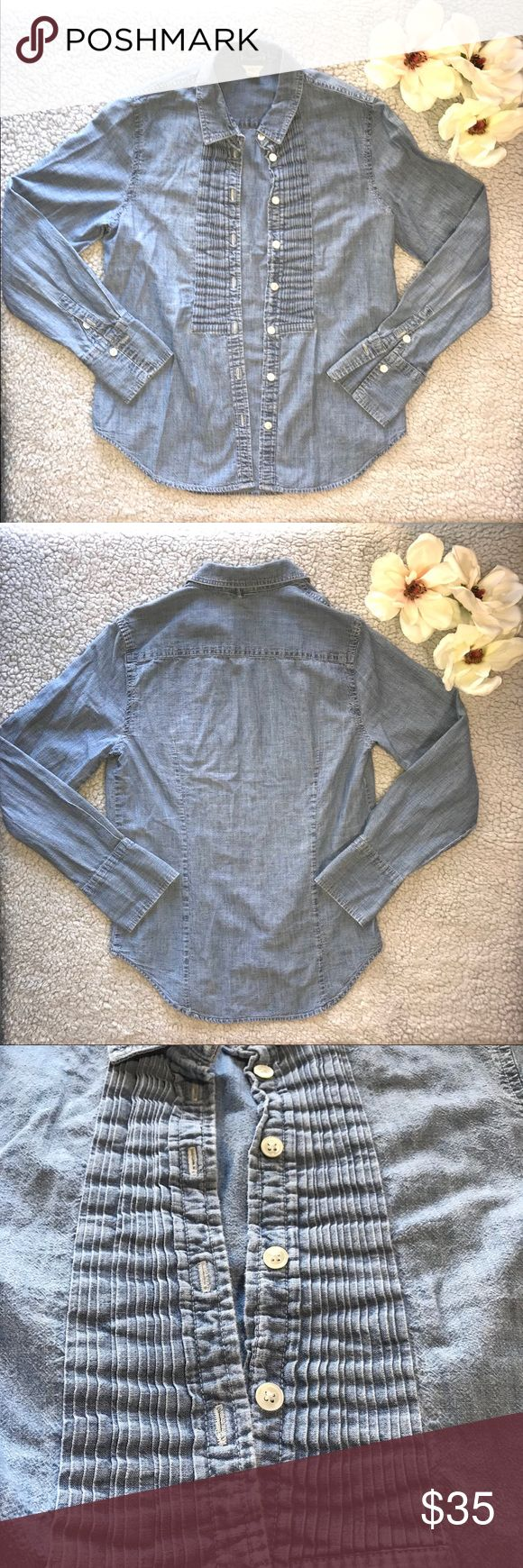 J. Crew Denim Button Down Tuxedo Front Size 2 J. Crew  Denim Button Down, Tuxedo Front  Size 2 Gently loved, still a lot of life left in this button down staple.  Excellent quality, 100% Cotton Perfect piece to grab and pair with almost anything❤️  OPEN TO ALL OFFERS 💕 Bundle your likes to receive a private offer! J. Crew Tops Button Down Shirts