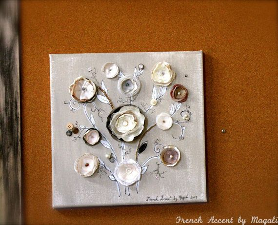 French altered 3D canvas art wall decor neutral colors | French ...