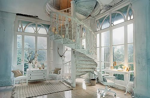 .Spirals Staircases, Dreams Home, Spirals Stairs, Shabby Chic, Dreams House, White, Windows, Spiral Staircases, Stairways