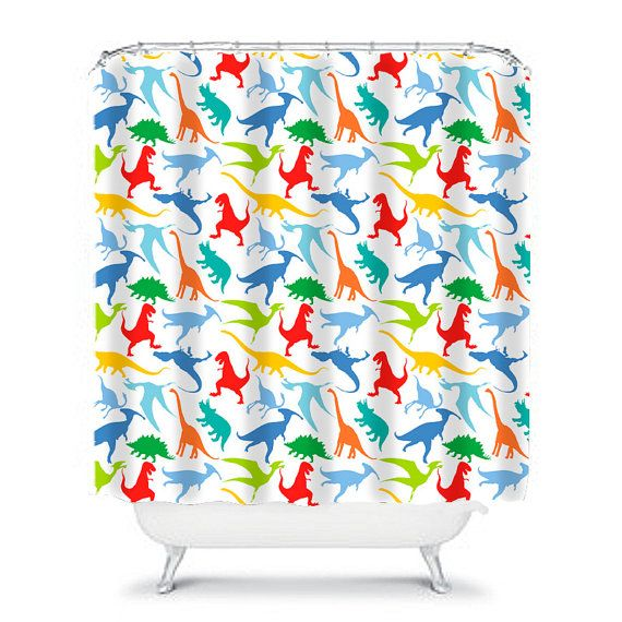 Boys Shower Curtain Dinosaur Decor Little Boy Colorful Kids Bath