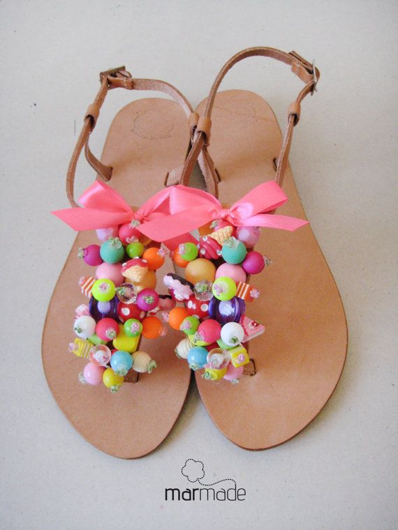 Handmade Leather Sandals with Colourful Beads and by MyMarmade
