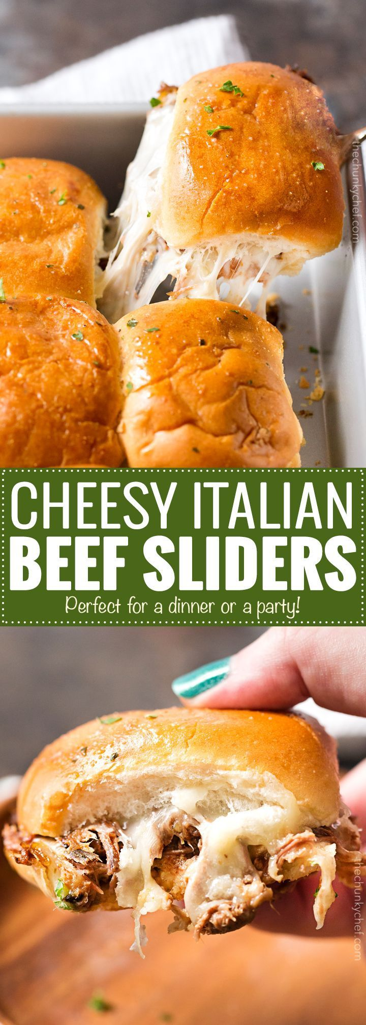 Baked Italian Beef Sliders   Slider buns are piled high with shredded Italian beef and gooey provolone cheese, brushed with melted garlic butter and baked until gooey and mouthwatering!   http://thechunkychef.com