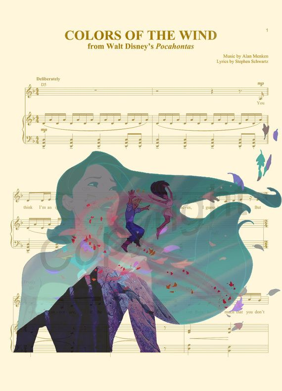 Pocahontas Colors of the Wind Music Sheet Art Print by AmourPrints